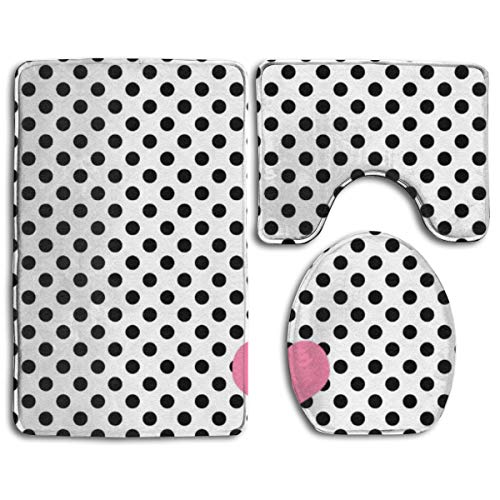 ASHOK ETHAN Extra Soft and Absorbent Rugs Set, 3PC Non-Slip Shaggy Bathroom Mat, Black Polka dot Heart,Includes U-Shaped Contour Toilet Mat, Bath Mat and Toilet Lid Cover