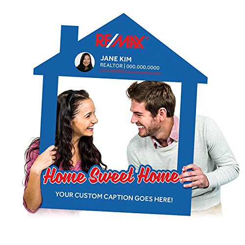 """Fantastic Displays Custom Printed Selfie Frame for Real Estate Social Media Marketing -""""Home Sweet Home!"""" on 4mm Corrugated Plastic House Cutout Family (35″ x 40″)"""