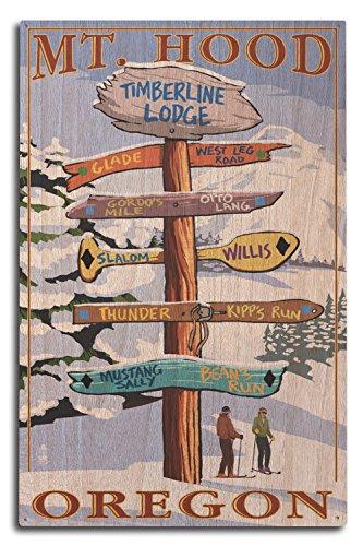 Mt. Hood, Oregon - Timberline Lodge - Winter Ski Runs Sign (10x15 Wood Wall Sign, Wall Decor Ready to ()