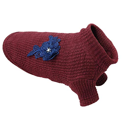 SOCHII Warm Pet Dog Knit Sweater Autumn Winter Clothes Small Dogs Cats Classic Sweaters Knitted Turtleneck with Flower Accessories Red S