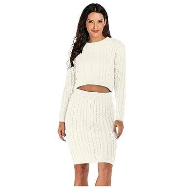 Jersey mujer elegante invierno 2 uds. Camiseta Top + falda de lana ...