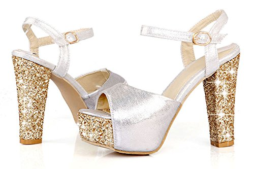 Easemax Womens Sweet Peep Toe Ankle Strap Buckle Shining Chunky High Heel Sandals with Sequins Silver f5t5y