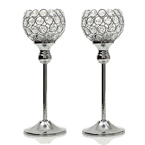 VINCIGANT Crystal Hurricane Candle Holder Silver Candlestick Set of 2 for Valentines Day Coffee Table Modern Decorative Centerpiece