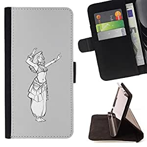 Jordan Colourful Shop - Grey White Princess Sketch White Girl For Apple Iphone 6 - Leather Case Absorci???¡¯???€????€????????&