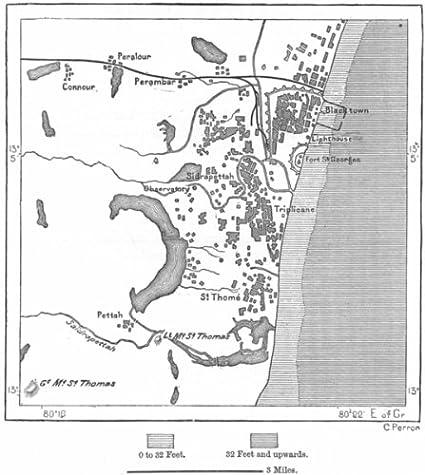 Madras India Map.Amazon Com India Chennai Sketch Map C1885 Old Map Antique