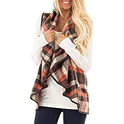 Mafulus Womens Vest Plaid Sleeveless Lapel Open Front Cardigan Sherpa Jacket with Pockets
