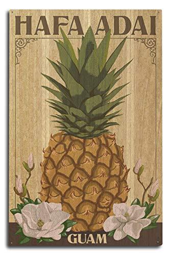 Lantern Press Hafa Adai, Guam - Colonial Pineapple (10x15 Wood Wall Sign, Wall Decor Ready to Hang)