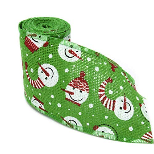 Green Christmas Holiday Burlap Ribbon Roll Snowman Pattern with Wired Edge for DIY Craft Project Gift Wrap Christmas Tree Decoration Bowknot Making,9.8 - Snowman Craft Pattern