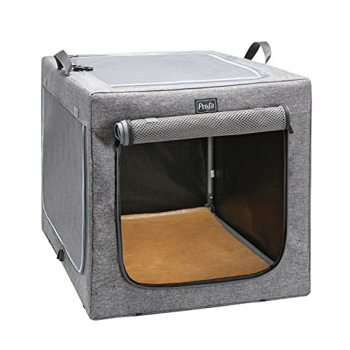 (Petsfit 30x20x19 Inches Travel Pet Home Indoor/Outdoor for Medium Dog Steel Frame Home,Collapsible Soft Dog Crate(Gray))