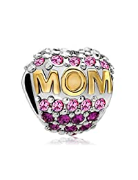 Sterling Silver Heart Mom Mother Pink Birthstone Crystal Charm Beads Jewelry Fit Pandora Jewelry Bracelet