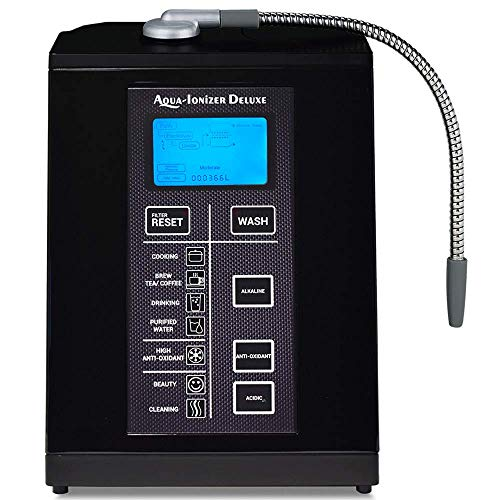 Aqua Ionizer Deluxe 9.5 Anti-Oxidant Boost Water Ionizer | Alkaline Water Filtration System | Produces pH 3.0-11.5 Alkaline Water | Up to -880mV ORP | 4000 Liters Per Filter | 7 Water Settings