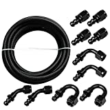 6AN 20Ft Universal Premium Braided Stainless Steel Fuel Line Filler Feed Hose W/10pcs Push Lock Swivel Fitting Hose Ends Kit