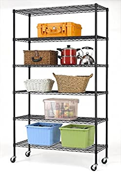 BestOffice 6-Shelf Commercial Steel Wire Shelving Rack with Wheels