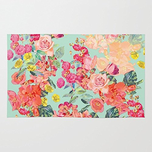 Society6 Antique Floral Print In Coral And Mint Tones Rug 4