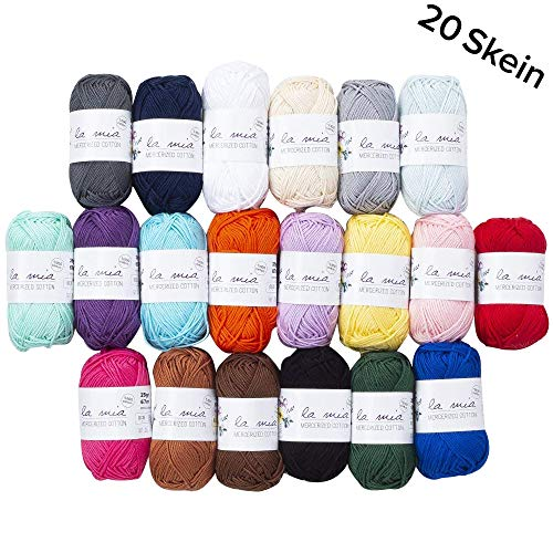 20 Skein 100% Mercerized Cotton Mini Yarn, Total 17.6 Oz Each 0.88 Oz (25g) / 73.2 Yrds (67m), Yarnweight: 3 DK, Assorted Colors Yarn