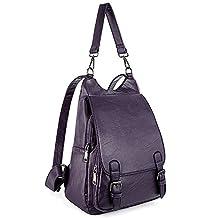 UTO Women Backpack Purse PU Washed Leather Large Capacity Ladies Rucksack Shoulder Bag CA
