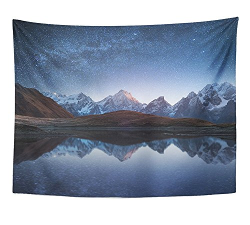 Emvency Tapestry Night Sky with Stars and The Milky Way Over Mountain Lake Collage of Two Frames Home Decor Wall Hanging 60