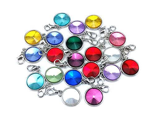 yueton 20pcs Assorted Color Birthstone Crystal Dangle Charms Pendant with Lobster Clasp Jewelry Making Accessory Fit Floating Locket Charms Necklaces