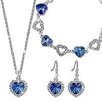 "Qianse ""Heart of the Ocean"" Pendant Necklace Bracelet Earrings Jewelry Set Made with SWAROVSKI Crystal"