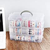 Kurtzy 3-Tray Transparent Plastic Organizer Storage Box Basket Container With Collapsible And Removable Dividers Lxbxh 31X19X24Cm