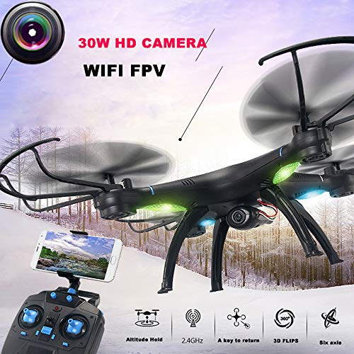 Glumes Drone with Camera Live Video - M39GW 2.4G 6-axis 4CH HD Camera WiFi FPV Gyro RC Quadcopter for Drones with Camera for Adults + Kids |American Warehouse Shipment VERY FAST (black)