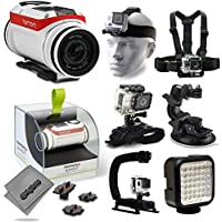 TomTom Bandit 4K Action Camera with Headstrap + Chest Harness Mount + Wrist Glove Strap + Suction Cup + LED Light + Opteka X-Grip Action Stabilizer