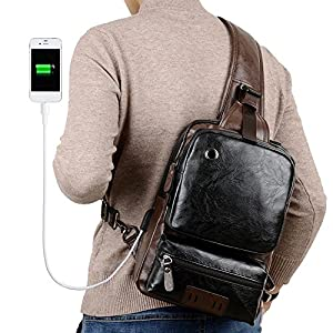 Sling Backpack Men Vintage Leather Cross Body Large Capacity Casual Office Travel Backpack With External USB Charge and Earphone Outdoor Cross body Bag Black