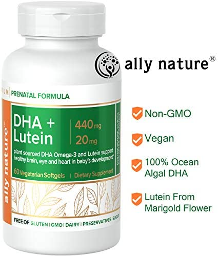 Ally Nature Vegan Prenatal DHA 440mg Lutein 20mg For Pregnancy Non-GMO Prenatal Multivitamin For Pregnant Women- Support Healthy Brain, Eye and Heart In Baby s Development – 60 Softgels