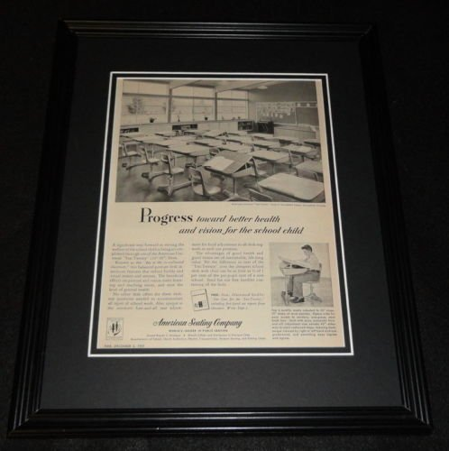(1951 American Seating Company Framed 11x14 ORIGINAL Vintage Advertisement)