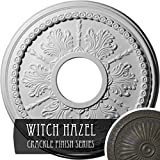 Ekena Millwork CM13TIWHC 13-7/8'' x 3-3/4'' x 1-1/4'' Tirana Ceiling Medallion, Witch Hazel Crackle