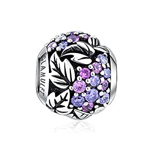 Glamulet Purple Grape Charms 925 Sterling Silver Round Beads Fit For Pandora Bracelet from Glamulet