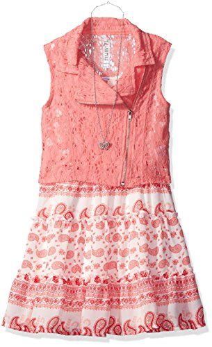 3 Tier Dress (Beautees Big Girls' 3 Tier Paisley Dress with Cropped Lace Moto Jacket, Sea Coral, 12)