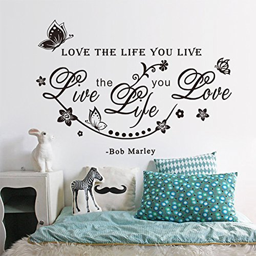 2016 Modern Rushed Top Fashion Wall Stickers Home Decor Diy Bob Marley Quote Love The Life You Live Decal Butterfly Flower Words