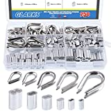 Glarks 250Pcs 304 Stainless Steel Wire Rope Cable Thimbles Combo and Aluminum Crimping Loop Sleeve Assortment Kit for Wire Rope Cable Thimbles Rigging