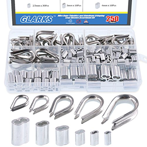 (Glarks 250Pcs 304 Stainless Steel Wire Rope Cable Thimbles Combo and Aluminum Crimping Loop Sleeve Assortment Kit for Wire Rope Cable Thimbles Rigging)