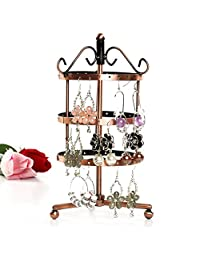Domybst 72 Holes Earrings Ear Stud Jewelry Metal Rotating Display Stand Holder