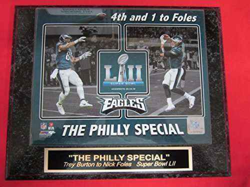 NICK FOLES TREY BURTON PHILLY SPECIAL Eagles SUPER BOWL LII Champions Collector Plaque w/8x10 Touchdown Photo