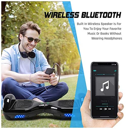 Windgoo Overboard Hover Scooter Board Bluetooth 6.5 Pouces, Self Balance Scooter Electrique Moteur 500W, Self-Balance Hoverboard Tout Terrains