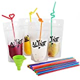 Cheap ALINK Frozen Ziplock Smoothie Bags, Empty Plastic Drink Pouches Juice Container, Set of 50 with Flexible Straws and Funnel