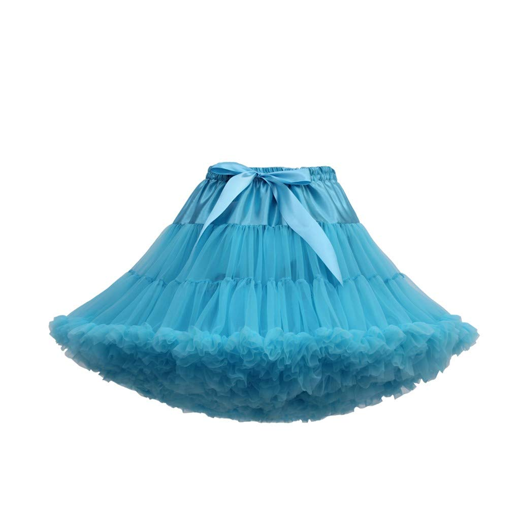 Women's Tulle Skirts A-Line Mini Skirts Fashion Sexy Solid Color Party Dance Ballet Bow Short Tutu Skirts (Free Size, I)
