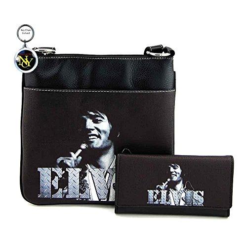 Elvis Presley Messenger Bag and Wallet Set, Collage, Plus Key Chain (Black)