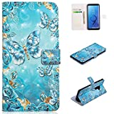 for Samsung Galaxy S9 Plus Wallet Case and Screen Protector,QFFUN Glitter 3D Pattern Design [Blue Butterfly] Magnetic Stand Leather Phone Case with Card Holder Drop Protection Etui Bumper Flip Cover