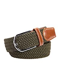 Aorbi Unisex Nylon Canvas Elastic Fabric Woven Stretch Braided Waist Belt