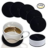 Coasters for Drinks with Holder by HIRUN - Set of 6 Round Silicone Coasters - Large 4.2 inch Art Car Bar Tea Coffee Table Mug Beer Bottle Beverages Absorbent for Wine Glass Rubber Black Cup Mat