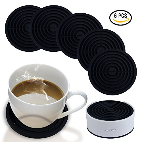 Coasters for Drinks with Holder by HIRUN - Set of 6 Round Silicone Coasters - Large 4.2 inch Art Car Bar Tea Coffee Table Mug Beer Bottle Beverages Absorbent for Wine Glass Rubber Black Cup Mat (6 Round Coasters)