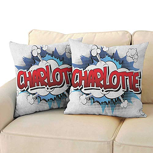 Charlotte,Toddler Pillowcase Female Name with French Origins in Retro Cartoon Design Explosion Effect and Dots 20