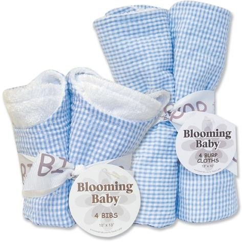 - Trend Lab Bibs and Burp Cloths Bouquet Set - Seersucker
