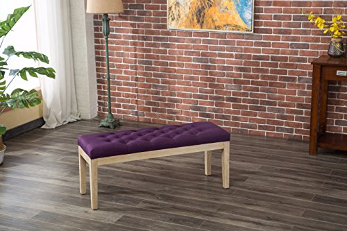 Roundhill Furniture CB171PL Mod Urban Style Solid Wood Button Tufted Fabric Dining Bench, Purple by Roundhill Furniture