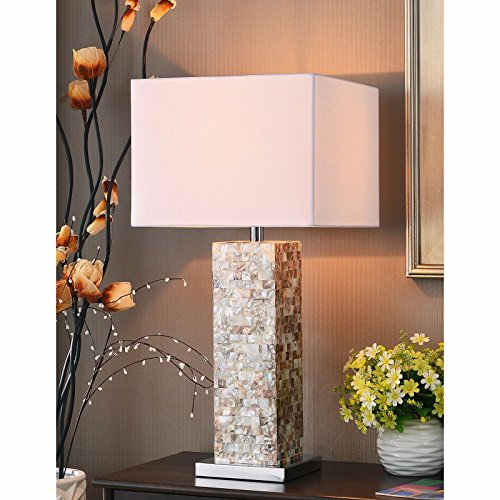 White Multi Directional 30-inch Table Lamp and Square Shade Made From Metal and Steel Contemporary Style Included Cross Scented Candle Tart