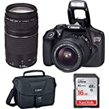 Canon EOS Rebel T6 Digital SLR Premium Kit, EF-S 18-55mm and EF 75-300mm Zoom Lenses, Backpack, 16GB Memory Card, Wifi